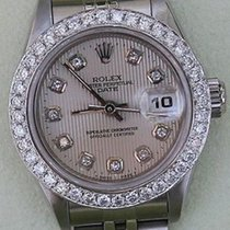 Rolex Datejust Ladies Steel Diamond Silver Tapestry Dial...
