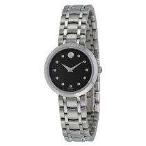 Movado Automatic Black Dial Stainless Steel Ladies Watch