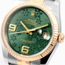 롤렉스 (Rolex) Rolex 18K/SS Mens Datejust Factory Green Floral...