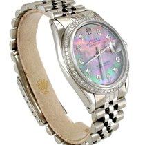 Rolex 1601 DateJust 36mm Custom Tahitian MOP Diamond Dial...