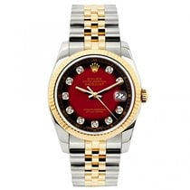 Rolex Datejust Ladies' 26mm Red And Black Dial Yellow Gold...