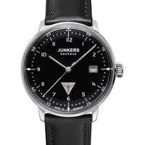 Junkers Bauhaus Swiss Quartz Watch Black Dial Lume Dots...