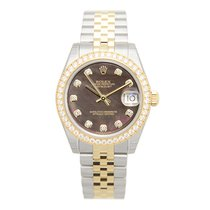 ロレックス (Rolex) Lady Datejust 18k Gold Diamond Steel Black...