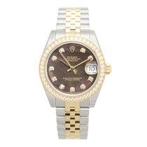 Rolex Lady Datejust 18k Gold Diamond Steel Black Automatic...