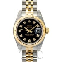 Rolex Lady Oyster Perpetual Black/18k gold Ø26 mm - 179173 G