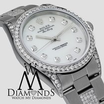 Rolex Air-king 34mm Stainless Steel White Mop Diamond Watch