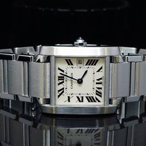 Cartier Mid Size Steel Tank Française, Boxed, 2645