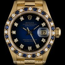 Rolex 18k Y/G O/P Sapphire & Diamond Bezel Datejust Ladies...