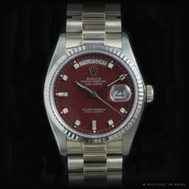 Rolex 18039 Day Date red stella dial white gold