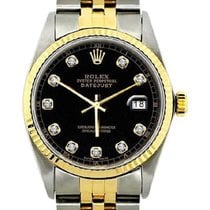 Rolex Datejust Men's 36mm Black Dial Yellog Gold And...