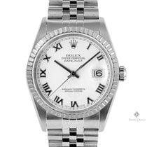 Rolex Datejust Stainless Steel White Roman Dial Engine Turned...