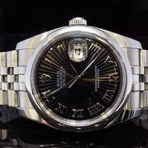 Rolex 2007 36mm Datejust, Black Roman Sunburst Dial, Boxed, MINT