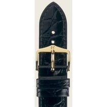 Hirsch Uhrenarmband Leder Crocograin schwarz M 12302850-1-20 20mm