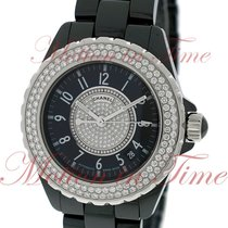 Chanel J12 38mm Automatic, Black Diamond Dial, Diamond Bezel -...