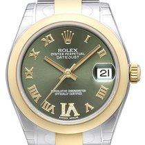 Rolex Datejust 31 Edelstahl Gelbgold 178243 Olive Römisch DIA