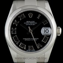 Rolex S/S O/P Black Roman Dial Mid-Size Datejust B&P 178240