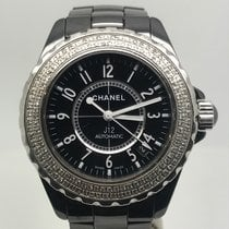 Chanel J12 CERAMIC 38MM AUTOMATIC BLACK DIAL DIAMONDS BEZEL