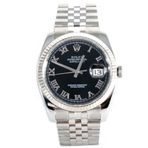 "Rolex Mens ""New Style"" Datejust - Black Roman Dial -..."