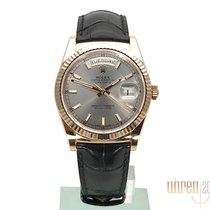 Rolex Day-Date 36 18 kt Everose-Gold Leder 118135 Rhodium