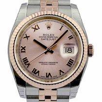 ロレックス (Rolex) Datejust 36mm Pink Roman Fluted Bezel SS/RG...