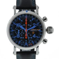 Chronoswiss Timemaster Stainless Steel Black Dial Blue Accents...