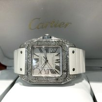 Cartier Santos 100 Midsize Steel Full Diamonds 45 x 35 mm...