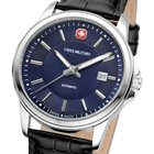 Swiss Military Automatic Herrenuhr Edelstahl blau Swiss Made...