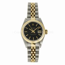 Rolex Lady Datejust 26MM Two Tone Black Stick Dial Watch 69173...