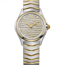 Ebel Wave Lady Steel Bracelet, Diamond Pave' Dial Gold Waves