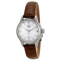 Oris Silver Dial Brown Leather Ladies Watch