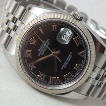 Rolex DateJust 18k Gold Steel Black Sunbeam 36mm Jubilee Watch
