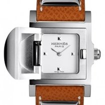 Hermès Medor White Dial Ladies Brown Leather Watch