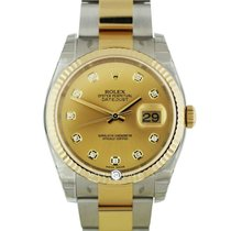 Rolex 116333 Champagne Diamond Dial Oyster Bracelet YG/SS