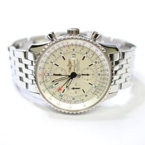 Breitling Navitimer World GMT 46mm Stainless Steel Mens Watch...