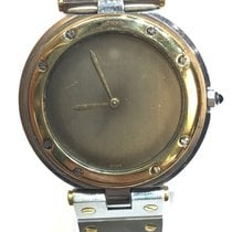 Cartier vintage twotone santos steel and gold round 32mm