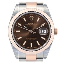 Rolex Datejust 41 Steel & Rose 126331 Chocolate Dial Oyster