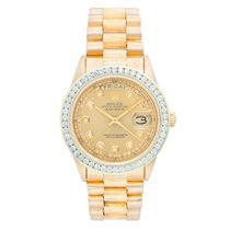 Rolex President Day-Date 18k Yellow Gold Barked Finish...