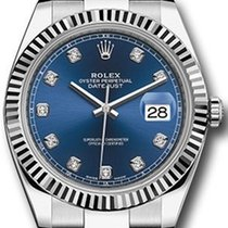 Rolex Datejust 41 126334 Blue Diamond Fluted White Gold...
