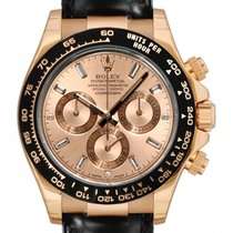 Rolex Daytona Rose Gold Leather Pink  Baguettes - 116515