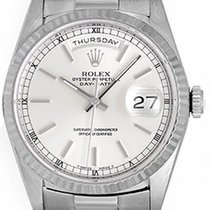 Rolex President Day-Date Men's 18k White Gold Watch Silver...