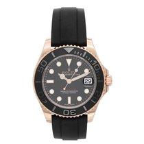 Rolex 18k Everose Rose Gold Yacht-Master Black Rubber Strap Watch