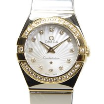 Omega Constellation 18k Gold Diamond Steel White Quartz...