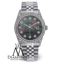 Rolex Mens Rolex Datejust Jubilee Stainless Steel Black Mop...