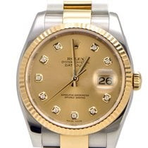 Rolex Datejust Two Toned Diamond Champagne Dial and Oyster B