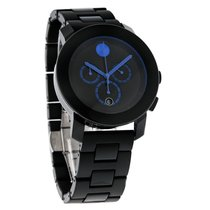 Movado Bold Unisex Black/Blue Swiss Chronograph Quartz Watch...