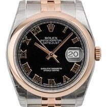 Rolex DateJust 36mm Steel and Rose Gold Black/Roman 116201