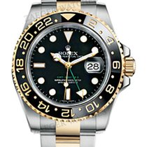 Rolex GMT-Master II Black steel and 18k yellow gold 116713 LN