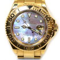 Rolex 18k Yellow Gold Yachtmaster 16628 Black MOP 2003 Box Papers