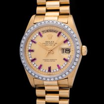 Rolex Day Date 18048 With Diamond & Rubies Index Dial