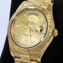 Rolex Day-date II President 218238 Fact Champagne Diamond Dial...